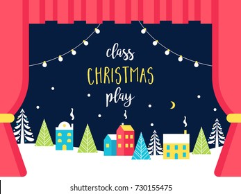 School or Theatre Stage Decorations for Christmas or New Year Play. Snowy Winter Wonderland and Lights Garlands. Class Play Sign. Vector Illustration
