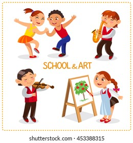 School time. Happy boys and girls. Cute schoolchild are dancing, painting, playing at a saxophone and a violin. Vector set Isolated on a white background.