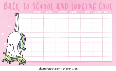 School timetable with cute unicorn doodle. Vector school timetable chalk sketch schedule, education.