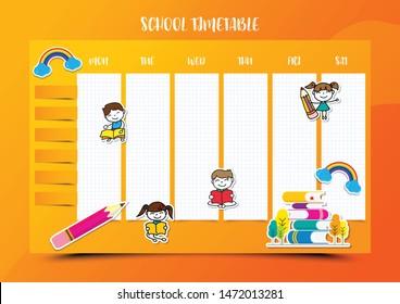 School timetable education vector design template background vector illustration. EPS10