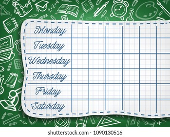 School timetable of lesson schedule template. Weekly lesson plans on green chalkboard, decorated with pattern of school supplies and student stationery sketches for education poster design