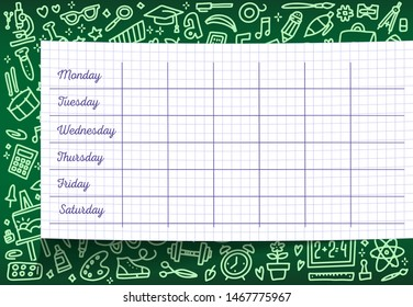 School timetable of lesson schedule template on checkered sheet. Weekly lesson plans on green chalkboard, decorated with pattern of school supplies and stationery sketches for education poster design.
