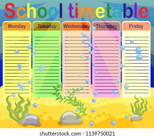School timetable with marine themes, table, underwater world