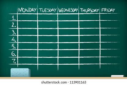 School timetable on blackboard - vector illustration