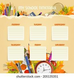 School Timetable.  Schedule. Back to school.