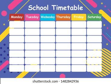 School Timetable, schedule, calendar, plan