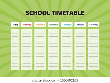 School timetable for subjects. Vector educational organizer with light green glowing background.Everyday planner. A4 scaled standard size