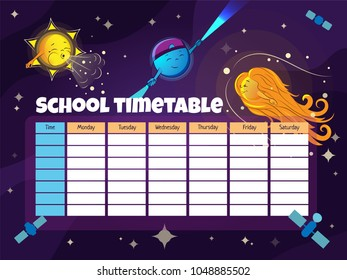 School timetable template with funny astronomical objects (Sun, Solar wind, Pulsar, Comet) and satellites . Vector illustration
