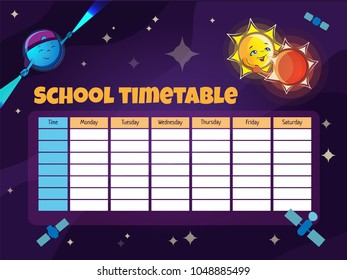 School timetable template with funny cartoon astronomical objects (Binary star, Pulsar) and satellites . Vector illustration