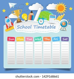 School timetable template on blue background