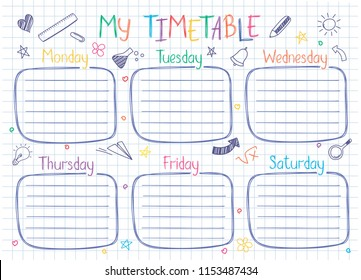 School timetable template on copy book sheet with hand written text. Weekly lessons shedule in sketchy style decorated with hand drawn school doodles.