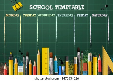 School timetable template for students or pupils. Vector Illustration