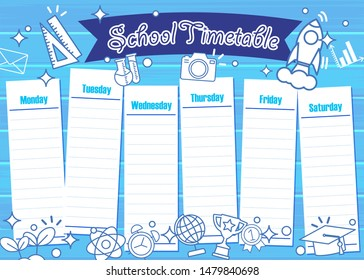 School timetable template with school supplies.