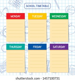 School timetable template,  a weekly curriculum design, vector illustration