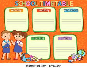 School timetable thematic image, schedule vector illustration.