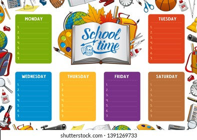 School timetable, week schedule and student classes weekly table on color notes. Vector school timetable with study supplies, pencils and notebooks, geography globe and school bag in leaves