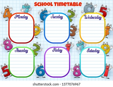 School timetable, weekly lessons schedule planner with cartoon numbers. Vector student classes school timetable chart template on checkered note paper background and number faces