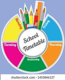 School Timetable Wheel 5 day schedule with school accessories