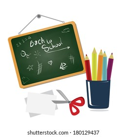 school tools over white background vector illustration
