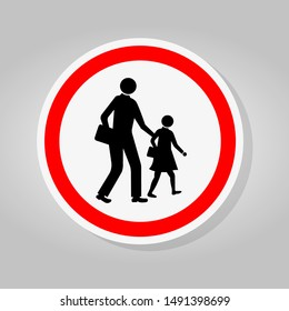 School Traffic Road Sign Isolate On White Background,Vector Illustration