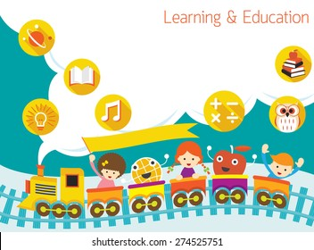 School, Train, Kids Text Balloon Background, Kindergarten, Preschool, Education, Learning and Study Concept