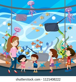 A School Trip To Aquarium illustration