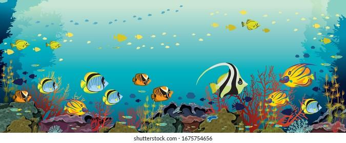 Schule für tropische Fische und Korallenriff auf blauem Hintergrund. Vektorillustration Meerblick Panoramabild.Unterwasserwelt und mariner Tierwelt.