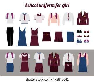 School uniform for girls kit flat vector illustration Set of female school dress code clothes. Collared button shirl, skirt, blazer and shoes.