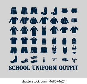 School Uniform Outfit Vector Flat Icon Set