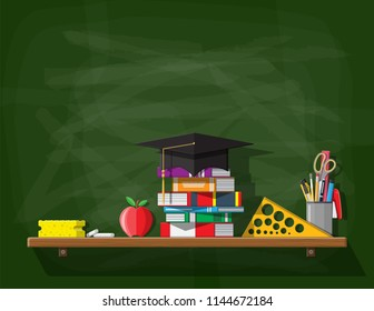 School or university blackboard. Board template with education hat, books, ruler, apple pencil pen sponge chalk. Academic and school knowledge, education and graduation. Vector illustration flat style