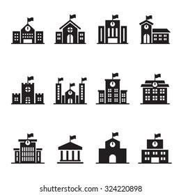 School & University building icons set