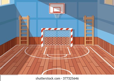 School or university gym hall, court for football and basketball. Vector illustration