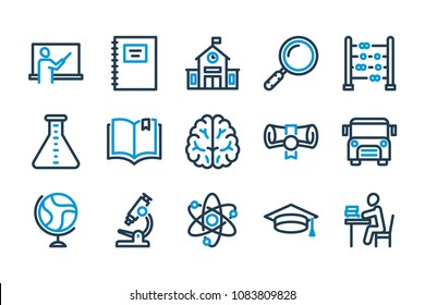 School and university related line icon set. Education line icons. Vector illustration.