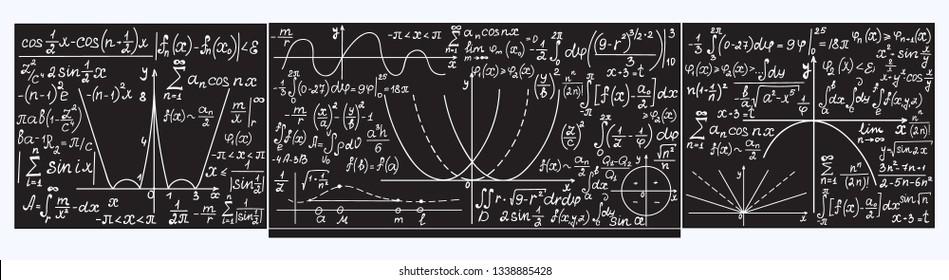 School vector blackboard with handwritten math plots, tasks and formulas.