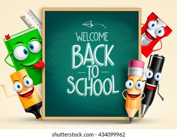 School vector characters of funny pencil, pen, sharpener and other school items holding blackboard with back to school writing. Vector illustration