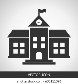 School vector icon on grey background, isolated building
