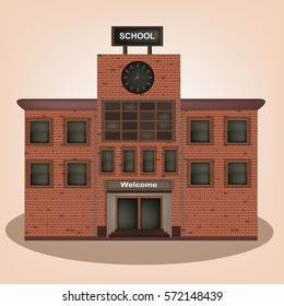 School vintage old building facade icon retro style.