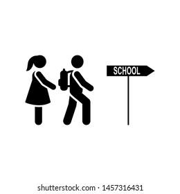 School way go students pictogram icon