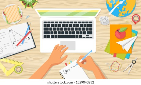 School workplace. Overhead desk top view. Vector illustration. Kids hands. Stationery and various education and studying things around. Back to school concept. Wooden background.