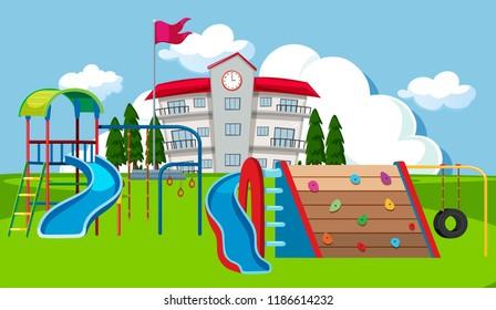 School yard playground scene illustration