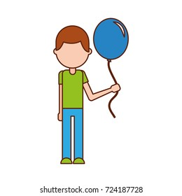 school young boy with balloon celebration teacher day
