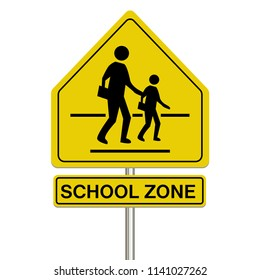 school zone sign on a white background