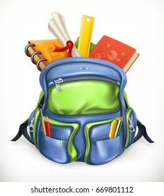 Schoolbag. Backpack with school supplies, 3d vector icon.