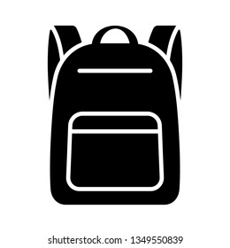Schoolbag / school bag backpack with straps flat vector icon for apps and websites