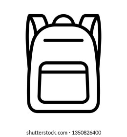 Schoolbag / school bag backpack with straps line art vector icon for apps and websites