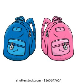 Schoolbag. Vector illustration of a blue and pink school backpack. Hand drawn schoolbag.