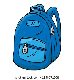 Schoolbag. Vector illustration of a school backpack. Hand drawn schoolbag.