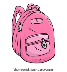 Schoolbag. Vector of a school backpack. Hand drawn schoolbag.