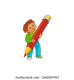 Schoolboy with big pencil in his hands isolated on white background. Hand drawn cartoon character of smiling little boy with extralarge red pencil for back to school concept. Vector illustration.
