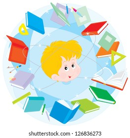 Schoolboy in a circle of books